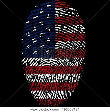 Fingerprint on the flag of the United States of America, vector art illustration.