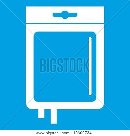 Blood transfusion icon white isolated on blue background vector illustration