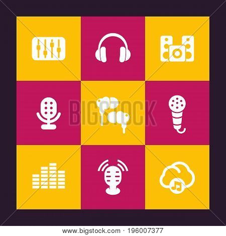 audio icons set, equalizer, sound mixing console, music in cloud, earbuds, headphones, microphones, speakers, vector illustration