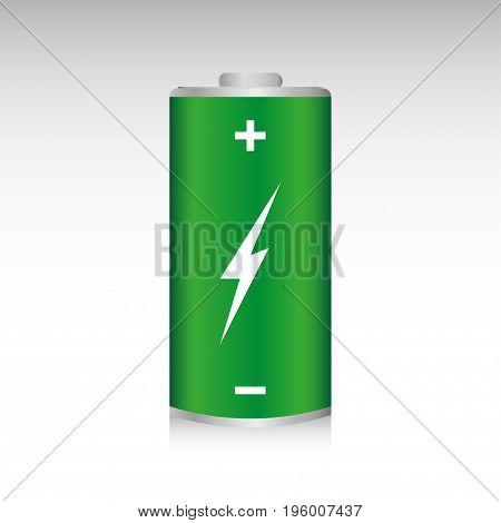 Green battery full charge isolated on a gray background. Alternative energy concept