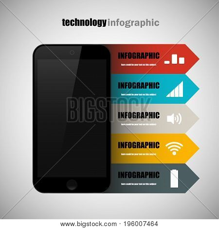 Modern design creative infographic with mobile phone. Business Infographics flat style. Smartphone icon