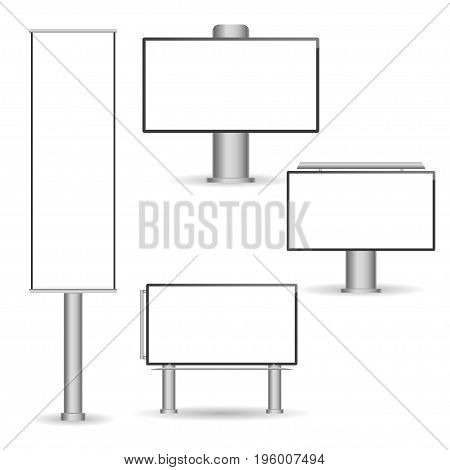 Set of different perspectives advertising construction for outdoor advertising big billboard. Billboard for your design