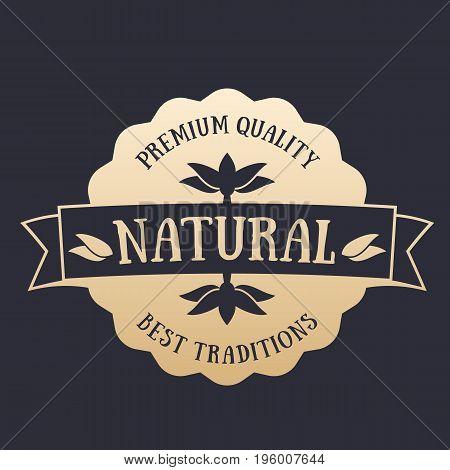 Natural Product badge, label, gold on dark, vector illustration
