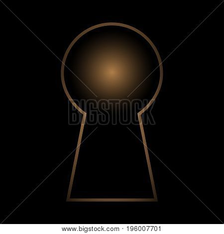 Gold door lock isolated on a black background