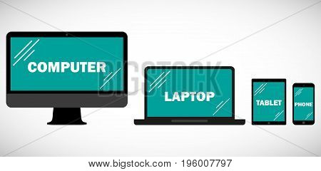 Set of computer monitors laptop tablet and mobile phone isolated on white background. Electronic gadgets responsive design for web- computer screen smartphone tablet icons set
