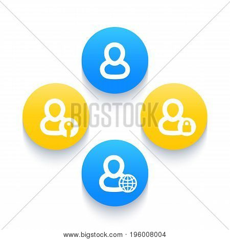 login icons, account, sign in, profile, user, eps 10 file, easy to edit