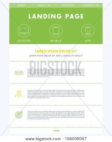 Landing page concept, flat website design template, in green, white and yellow