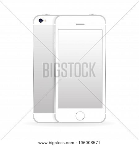 Silver mobile phone front and back with shadow isolated on white background