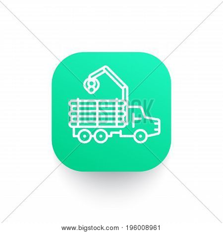 Forwarder line icon, logging truck, forestry vehicle, logger