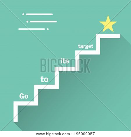 Steps with goal target flat style on a background