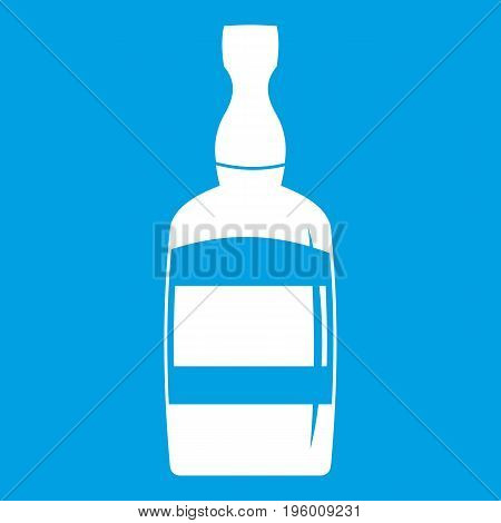 Brandy bottle icon white isolated on blue background vector illustration