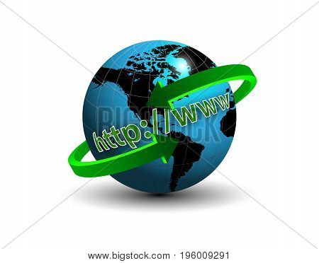 Internet around the globe, vector art illustration internet technologies.