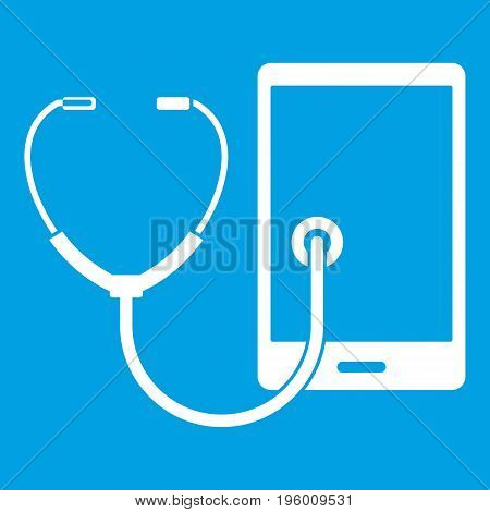 Phone diagnosis icon white isolated on blue background vector illustration