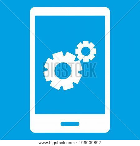 Working phone icon white isolated on blue background vector illustration