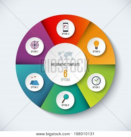 Infographic circle. Vector options banner with 6 steps, parts, pieces. Can be used for cycle diagram, round chart, graph, report