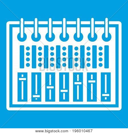 Music equalizer console icon white isolated on blue background vector illustration
