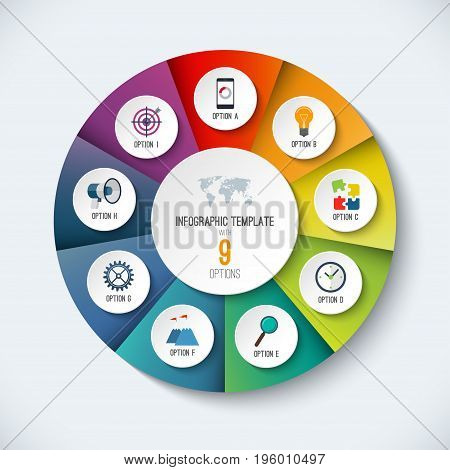 Infographic circle. Vector options banner with 9 steps, parts, pieces. Can be used for cycle diagram, round chart, graph, report