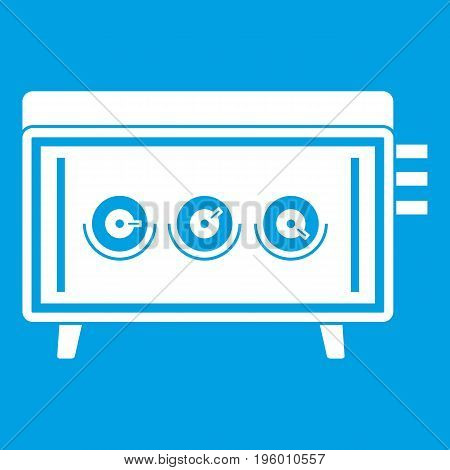 CD changer icon white isolated on blue background vector illustration