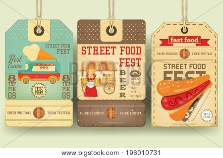 Street Food and Fast Food Truck Festival on Price Tags in Retro Style. Template Design. Advertising Ice cream Beer and Hot dogs. Vector Illustration.