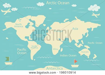 World map isolated on a blue background. Vector illustration. Layout of the infographic layout. Flat world of Earth illustration.