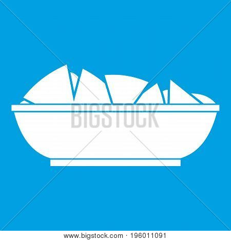 Nachos in bowl icon white isolated on blue background vector illustration