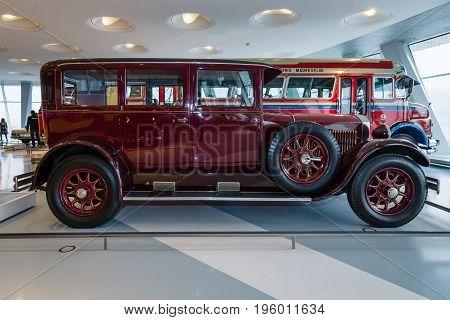 STUTTGART GERMANY- MARCH 19 2016: Vintage car Mercedes-Benz 12/55 PS Pullman-Limousine 1927. Mercedes-Benz Museum.