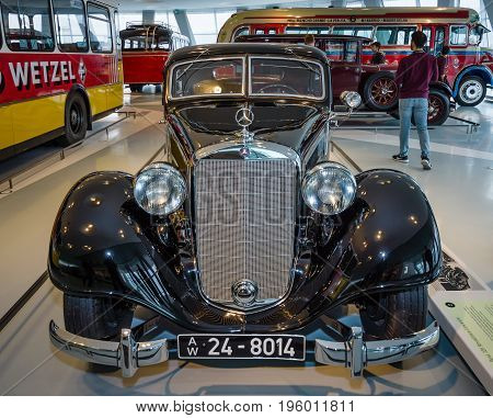 STUTTGART GERMANY- MARCH 19 2016: Large luxury car Mercedes-Benz Typ 320 (W142/II) Stromlinien-Limousine 1939. Mercedes-Benz Museum.