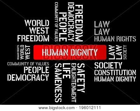 Human Dignity - Image With Words Associated With The Topic Community Of Values, Word, Image, Illustr
