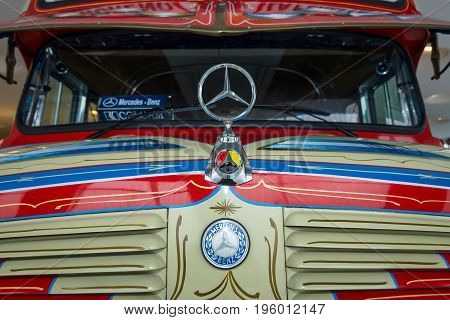 STUTTGART GERMANY- MARCH 19 2016: Fragment of vintage bus Mercedes-Benz LO 1112 Omnibus 1969. Mercedes-Benz Museum.