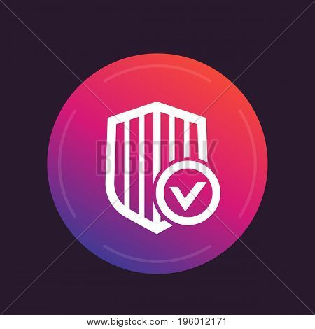 Shield with check mark, secure, protected, security icon