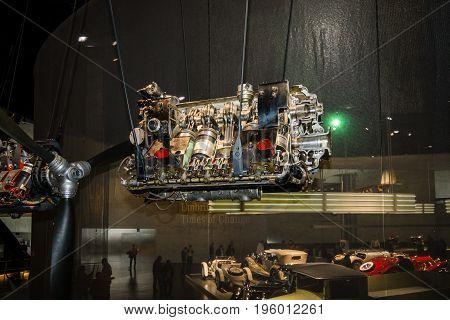 STUTTGART GERMANY- MARCH 19 2016: Mercedes-Benz DB600 aero engine 1935. Mercedes-Benz Museum.