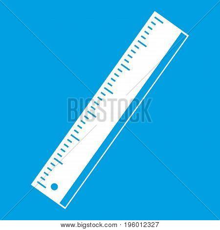 Yardstick icon white isolated on blue background vector illustration