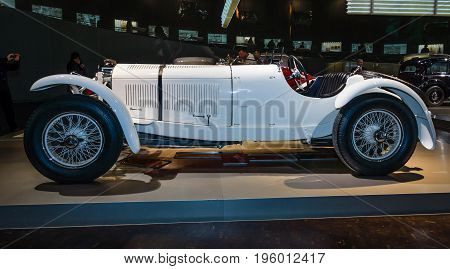 STUTTGART GERMANY- MARCH 19 2016: Sports car Mercedes-Benz 27/170/225 PS SSK (Super-Sport-Kurz (DE) - Super Sport Short (EN)) 1928. Mercedes-Benz Museum.