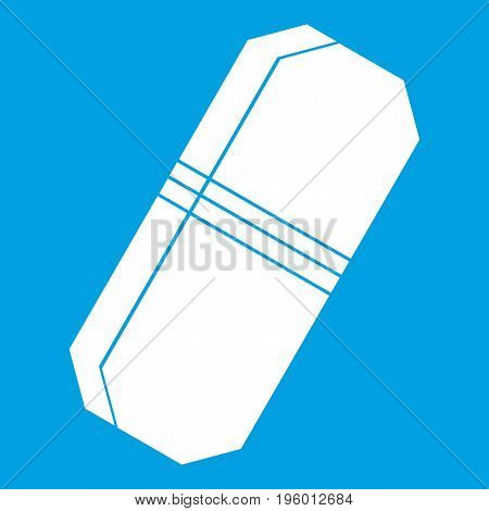 Pencil eraser icon white isolated on blue background vector illustration