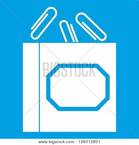 Paper clips box icon white isolated on blue background vector illustration