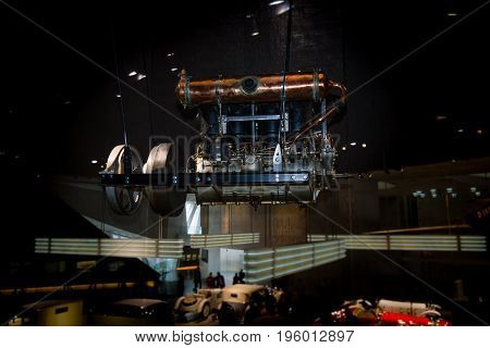 STUTTGART GERMANY- MARCH 19 2016: The airship (Zeppelin) engine Mercedes L4J 1909. Mercedes-Benz Museum.