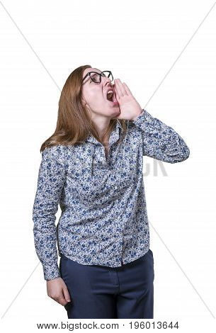 Pretty Business Woman Screaming With Black Glasses