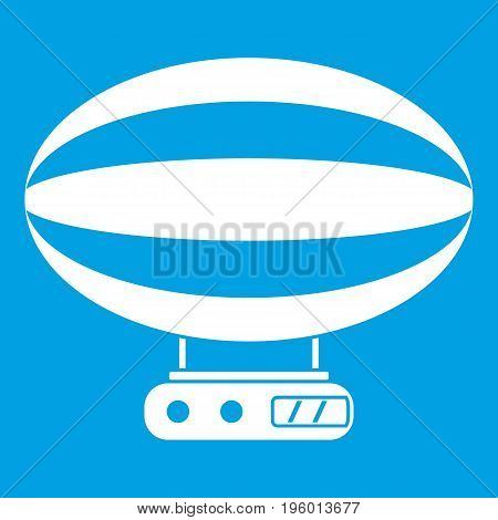Aerial transportation icon white isolated on blue background vector illustration