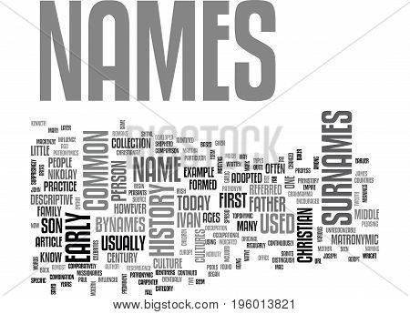 A HISTORY OF NAMES TEXT WORD CLOUD CONCEPT