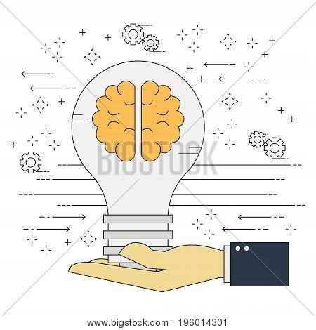 Vector flat line light bulb idea on businessman hand. Vector illustration business share idea concept.