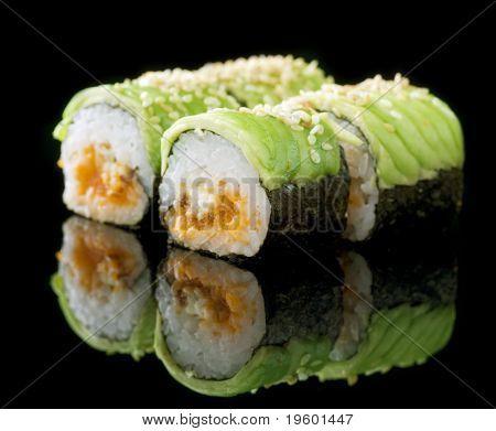 Sushi Rolls over black poster