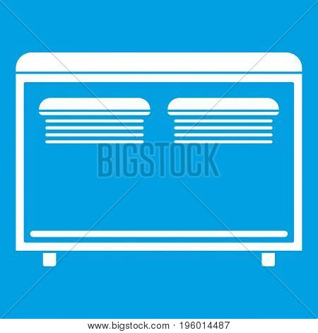 Home equipment for heating icon white isolated on blue background vector illustration