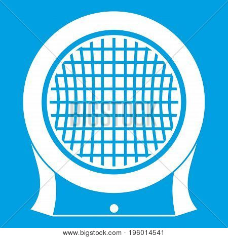 Electric heater icon white isolated on blue background vector illustration