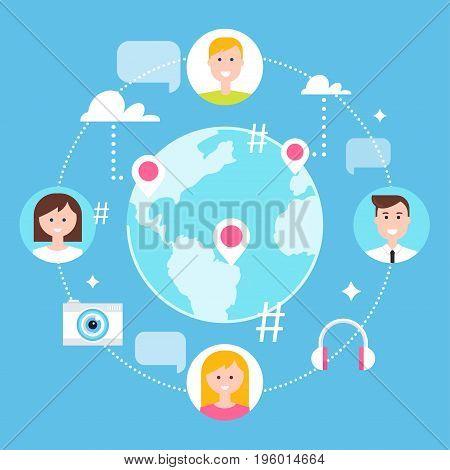Social Network, Followers and Social Media Marketing Vector Illustration