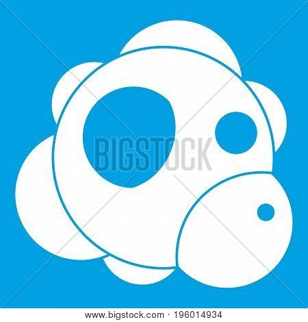Atom icon white isolated on blue background vector illustration
