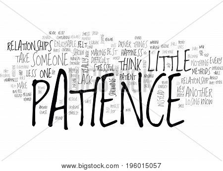 A LITTLE PATIENCE GOES A LONG WAY TEXT WORD CLOUD CONCEPT