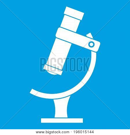 Microscope icon white isolated on blue background vector illustration
