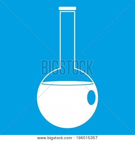 Chemical beaker icon white isolated on blue background vector illustration