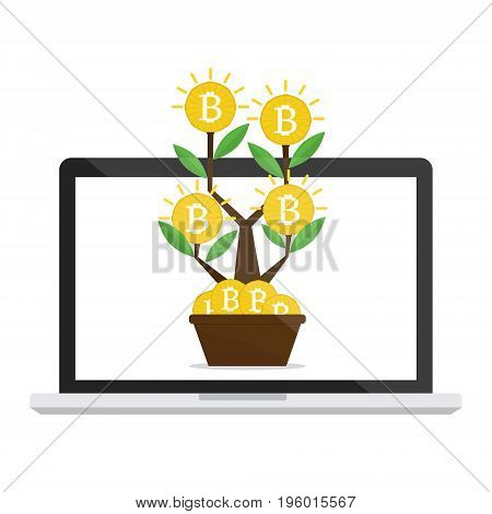 Money bitcoins tree on computer laptop internet online network growth and investment concept. Vector illustration business concept design.