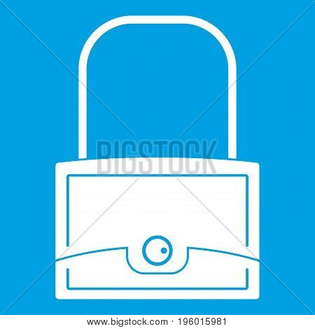 Little bag icon white isolated on blue background vector illustration